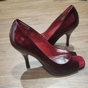 BCBGeneration Red Metallic Peeptoe Heels